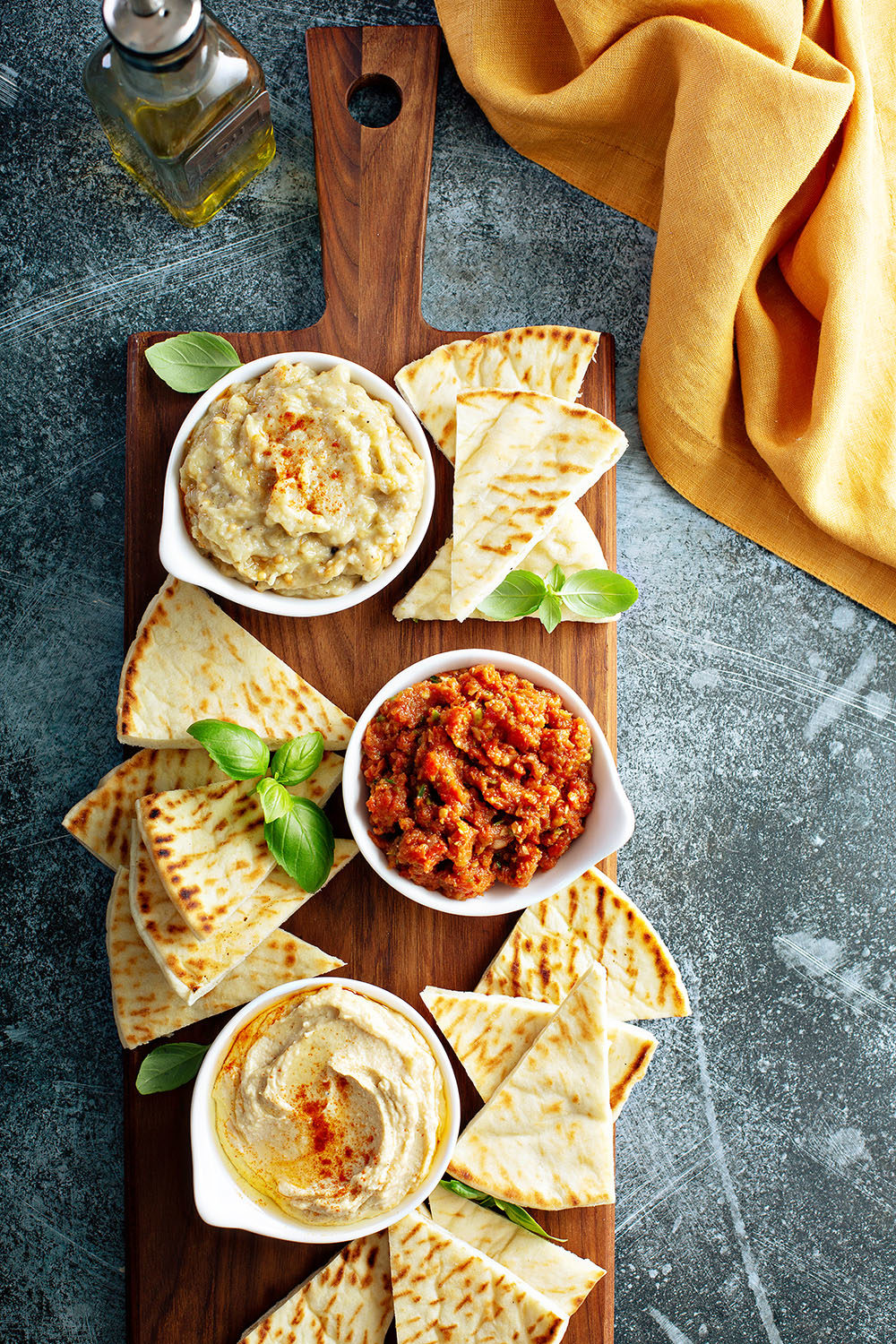 Mediterranean mezze board with pita and dips